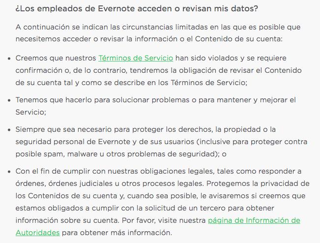 Cláusula actual acerca de las circunstancias en las que los empleados de Evernote pueden acceder al contenido almacenado por los usuarios