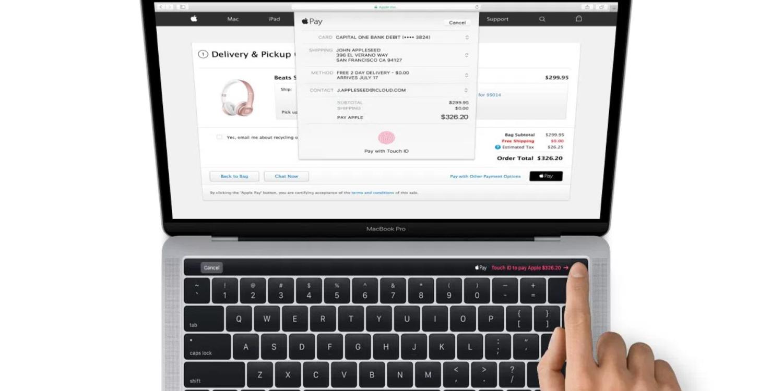 Apple Pay en la web, usado con Touch ID en los nuevos MacBook Pro con Touch Bar