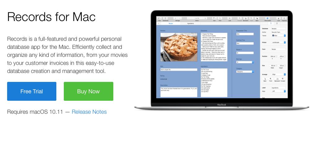 Comienza a trabajar con bases de datos con Records para Mac