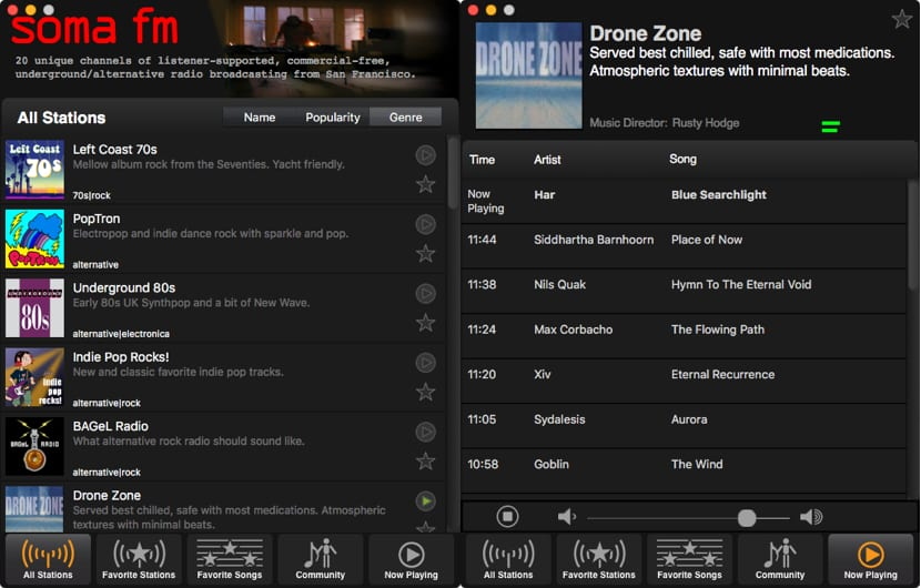 SomaFM nos permite disfrutar de nuestra música favorita desde el Mac