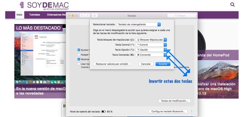 Cómo configurar teclado Windows en Mac