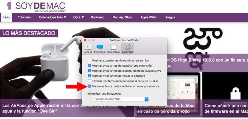 Ordenar carpetas en el Finder macOS