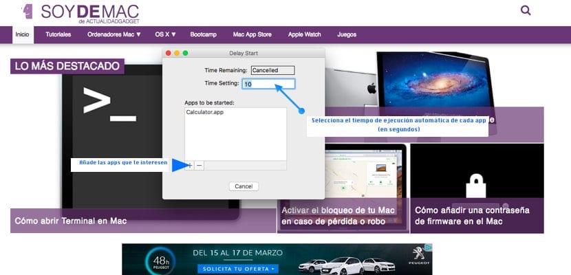 Delay Start gestión de app principio en macOS