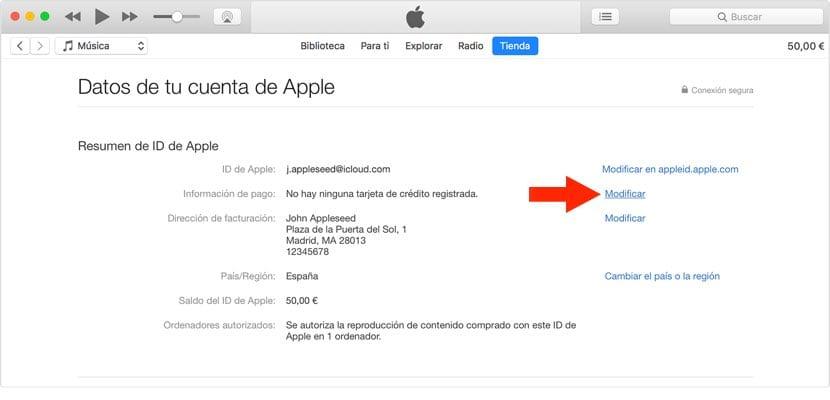 modificar método de pago en iTunes operador móvil