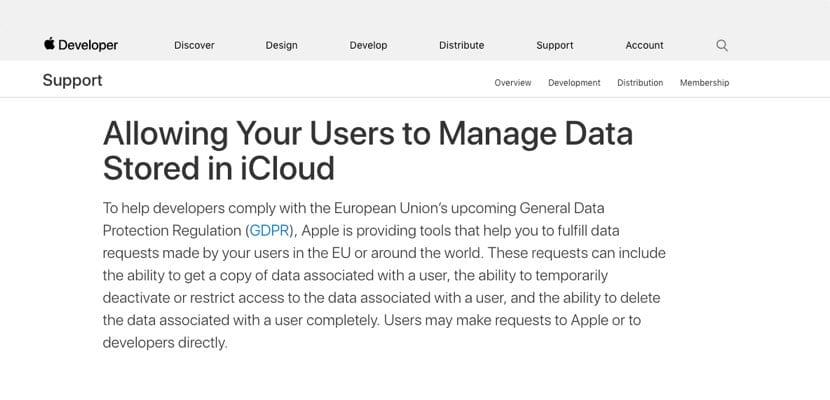 portal desarrolladores portección datos Europa Apple