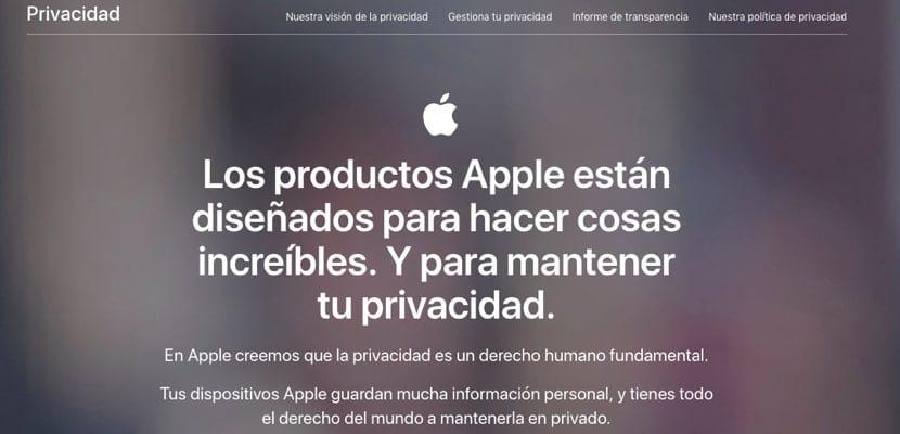 página privacidad Apple