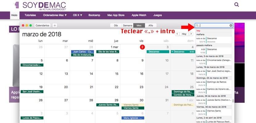 Vista eventos en lista en Calendario macOS