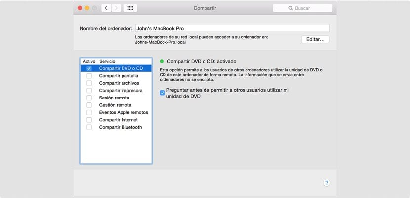 Compartir CD o DVD en Mac