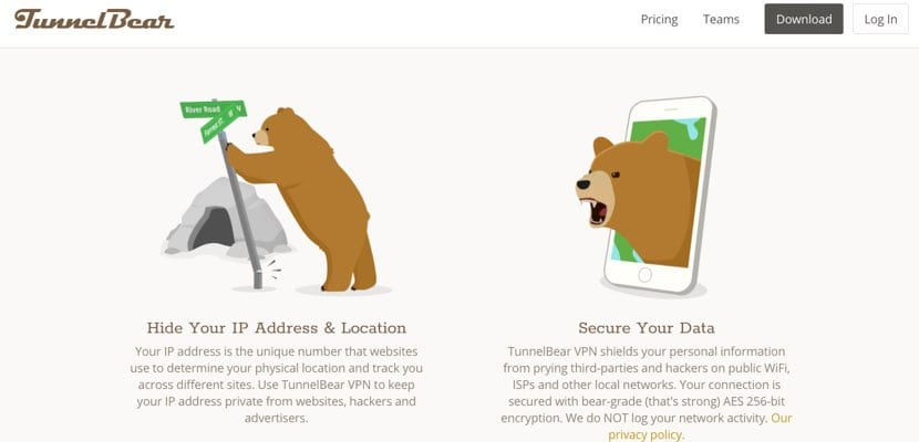 TunnelBear VPN ocultar IP