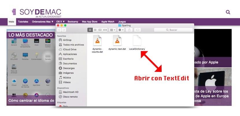 Archivo diccionario integrado de macOS