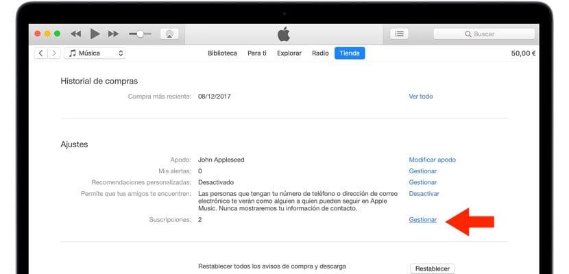 iTunes gestión de suscripciones macOS
