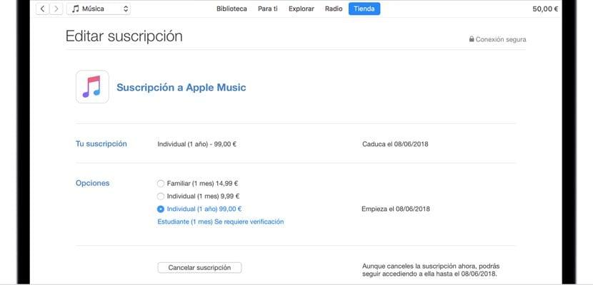 opciones suscripción Apple Music macOS