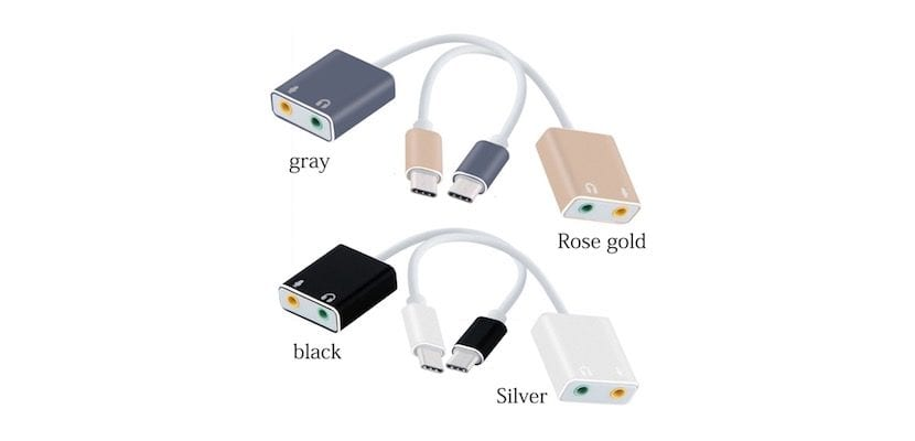 Adaptador USB-C audio colores