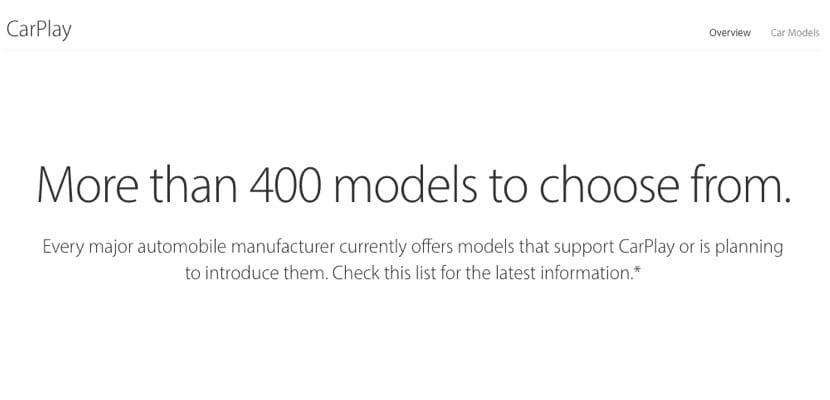 CarPlay 400 modelos compatibles USA