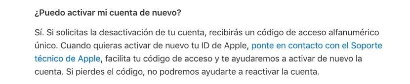 reactivar cuenta Apple