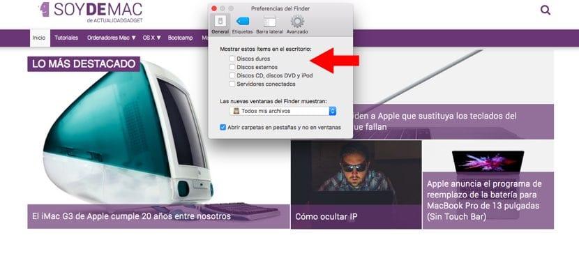 Elementos visibles en escritorio Mac