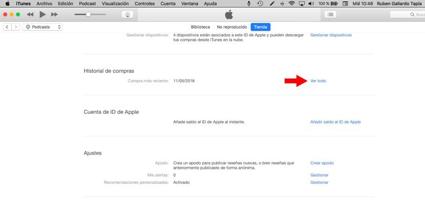 historial compras Apple ID