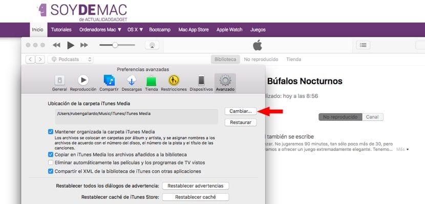 iTunes cambio ubicación descarga contenidos