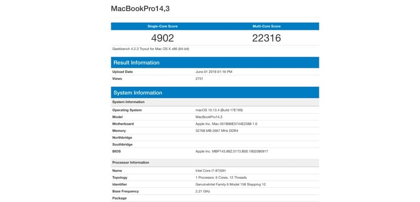 GeekBench MacBook Pro WWDC