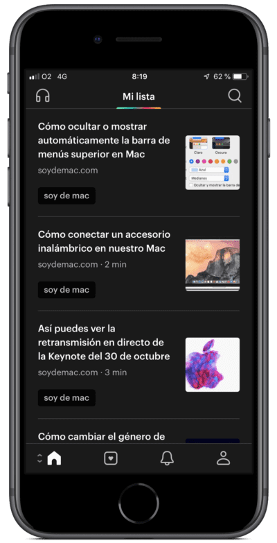 Artículos guardados en Pocket para iPhone