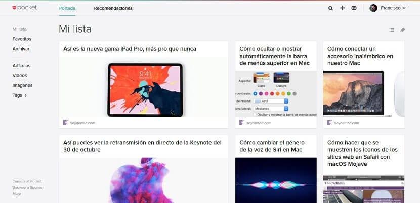 Artículos guardados en Pocket desde la web