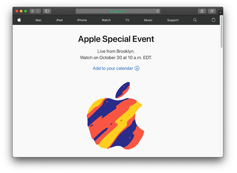 Web de la Keynote de Apple del 30 de octubre