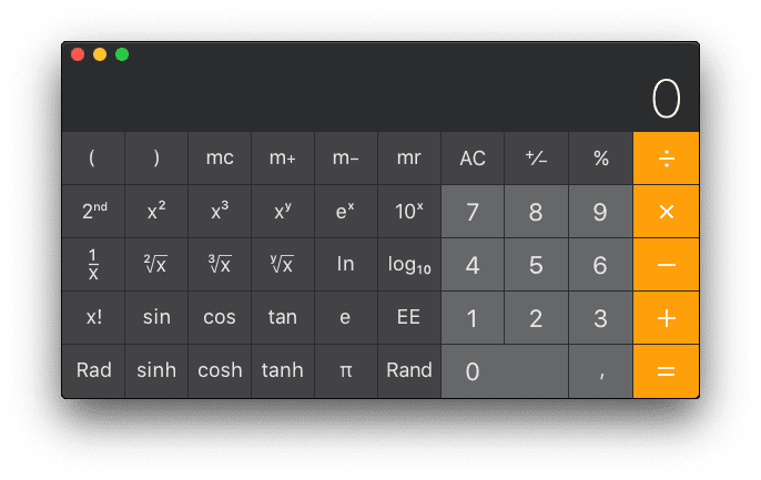 Calculadora científica en Mac