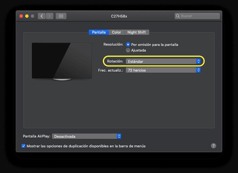 Cambiar la rotación de pantalla en Mac