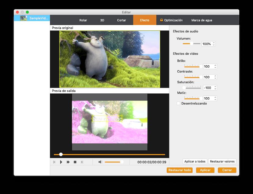 Efectos en Video Converter Pro
