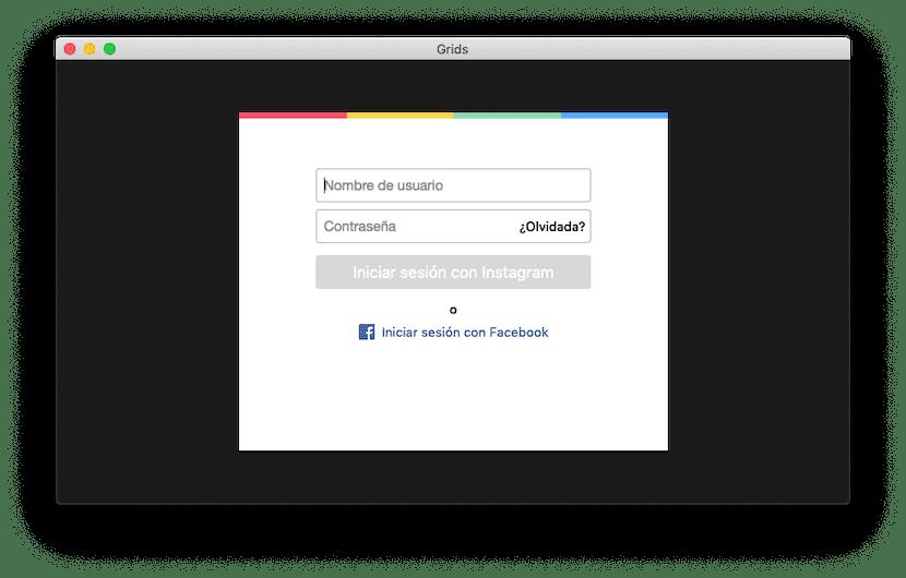 Grids for Instagram para Mac: iniciar sesión