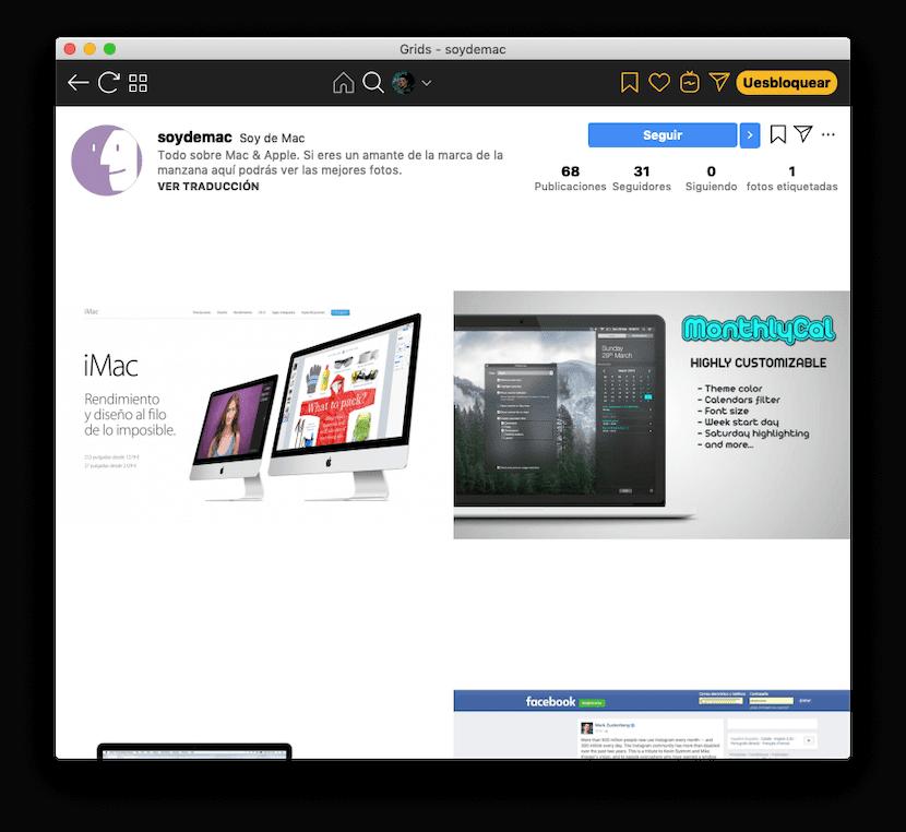 Grids for Instagram para Mac: vista de usuario