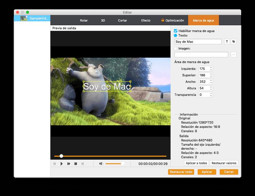 Marca de agua en Video Converter Pro