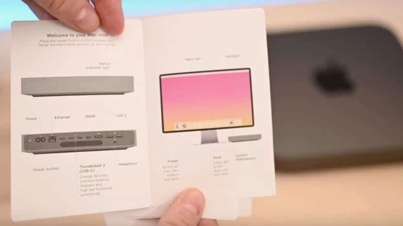 Monitor mostrado en la guía de inicio del nuevo Mac mini