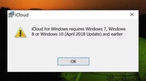 Problemas de incompatibilidad en iCloud para Windows