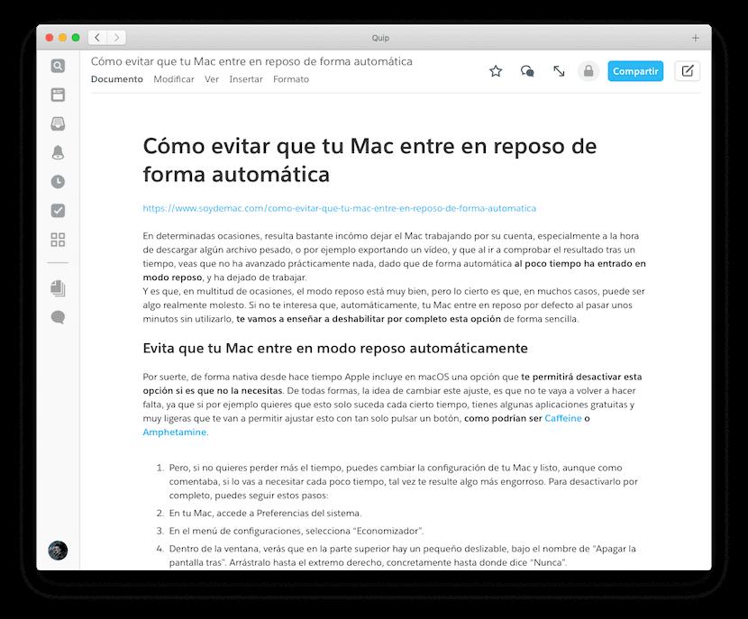 Quip, un editor de texto diferente para Mac que deberías probar