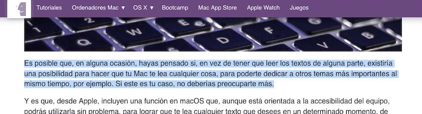 Seleccionar el texto para leer con dictado en Mac