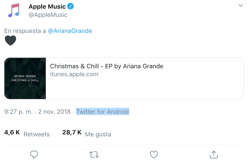 Tweet de Apple Music desde Twitter para Android