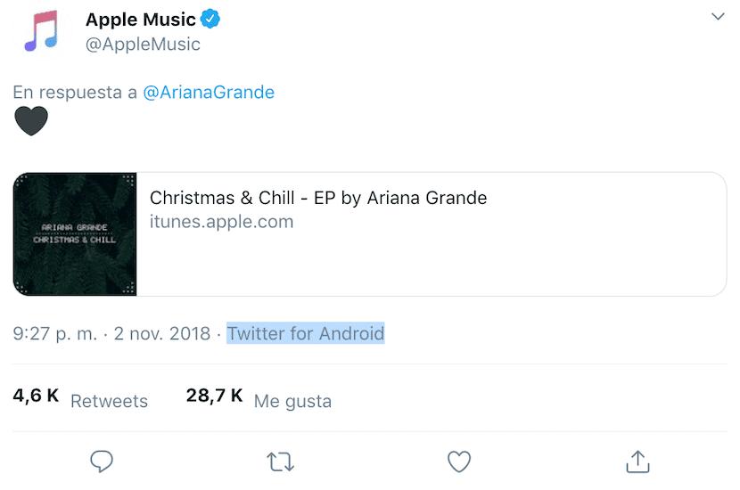 Tweet de Apple Music desde Twitter para Android