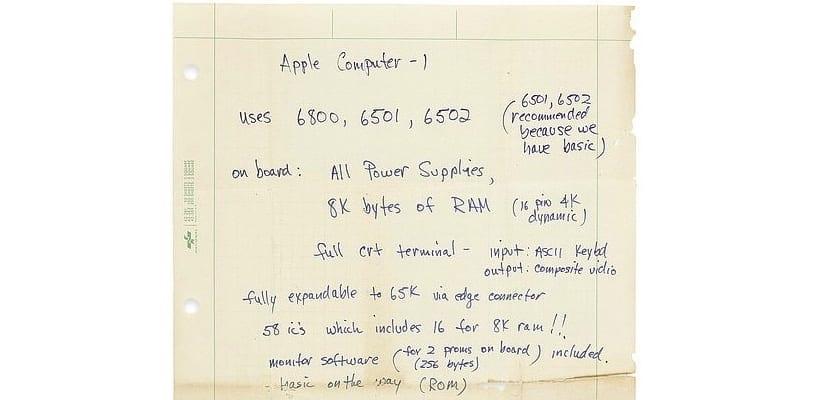 Sale a subasta una carta escrita a mano de Steve Jobs con las especificaciones del Apple-1