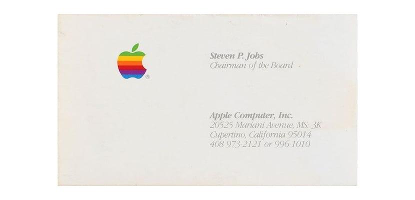 Tarjeta de visita de Steve Jobs subastada