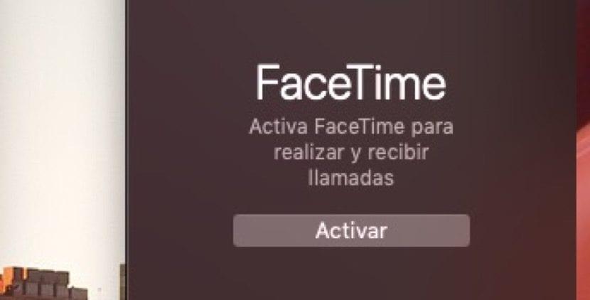 Ventana Facetime desactivada
