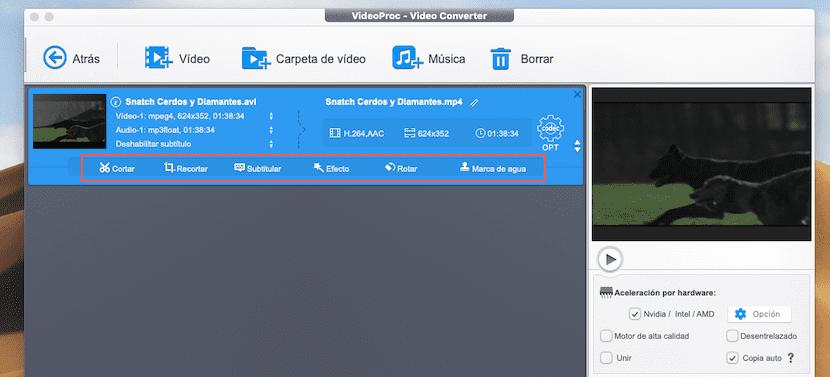 Editar vídeos con VideoProc