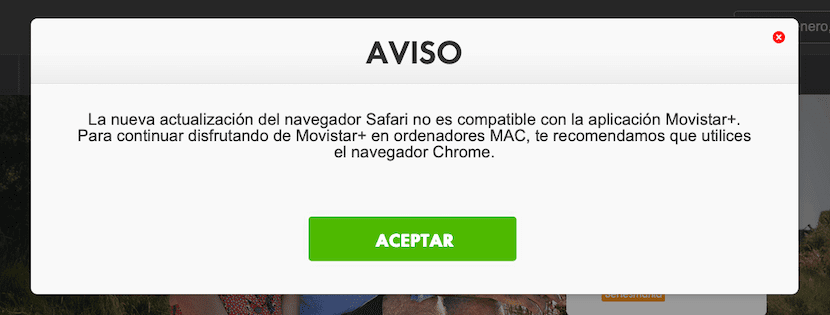 Movistar Plus no es compatible con Safari en Mac