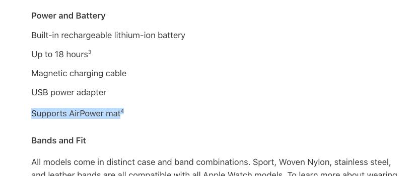 Referencia a la AirPower en la web de Apple