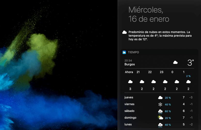 Tiempo en el centro de notificaciones en macOS