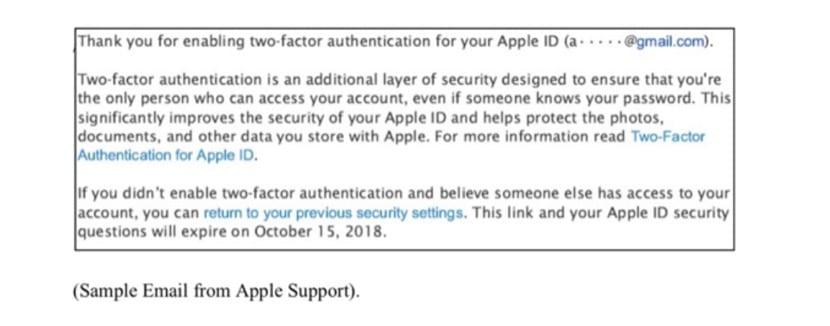 correo que envía Apple al activar la autenticacion doble factor