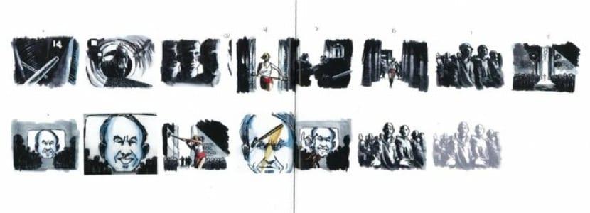 Bocetos del primer anuncio de un Mac en televisión