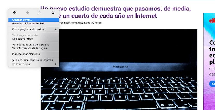 Descargar una página web con Mozilla Firefox en Mac