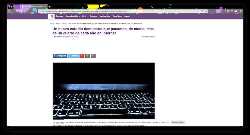 Ejemplo de página web descargada con Mozilla Firefox en Mac