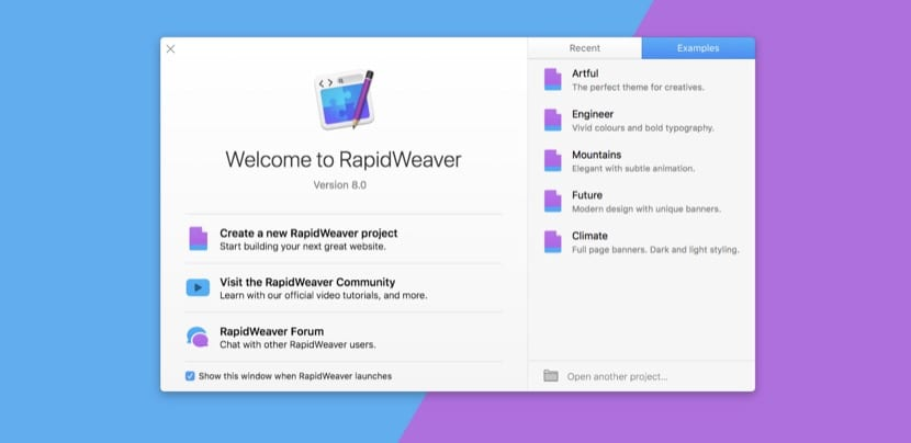 Menu de entrada RapidWeaver